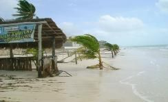 "Casa Azul's ""Palapa""  used to be at red X - ""After Photos ""  Hurricane Dean Ranchos Puerto Morelos Aug 2007 Yucatan Q Roo  Hurricanes tropical storms"
