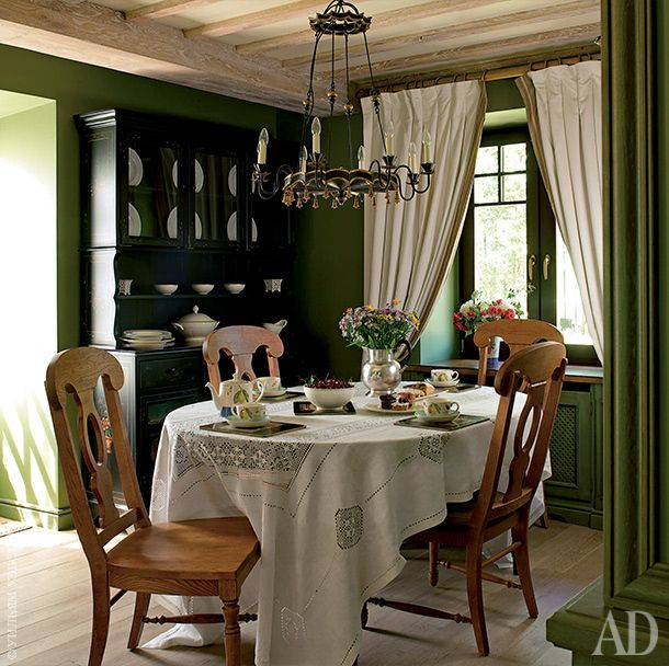 Dining table and chairs, Antique Oak;  buffet, AA Importing;  chandelier…