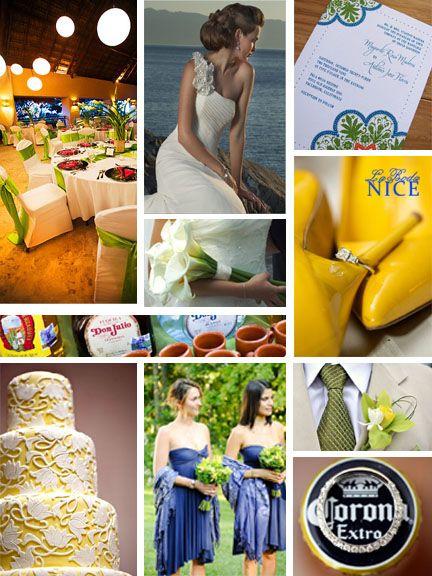Boda Mexicana de Playa Amarillo / Verde / Azul Mexican Beach Yellow / Green / Blue Wedding