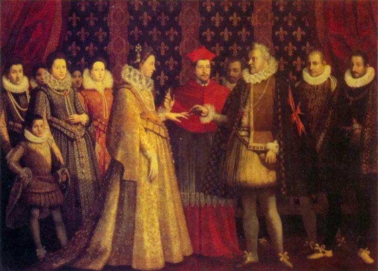 Le mariage par procuration de Marie de Médicis, à Florence, le 5 octobre 1600, d'après Jacopo Empoli  Variante du tableau précédent. Le rôle de Henri IV absent est tenu par Ferdinand Ier de Médicis, grand-duc de Toscane, oncle de l'épousée. Il porte le collier et le manteau court de l'Ordre de Saint-Étienne, fondé par son père Côme Ier en commémoration de la victoire de Marcian. L'union est bénie par le cardinal Aldobrandini, neveu du pape Clément VIII. Derrière Marie, sa tante Christine de…