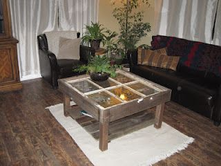 Coffee Table Made From an Old Window. No tutorial just pictures.