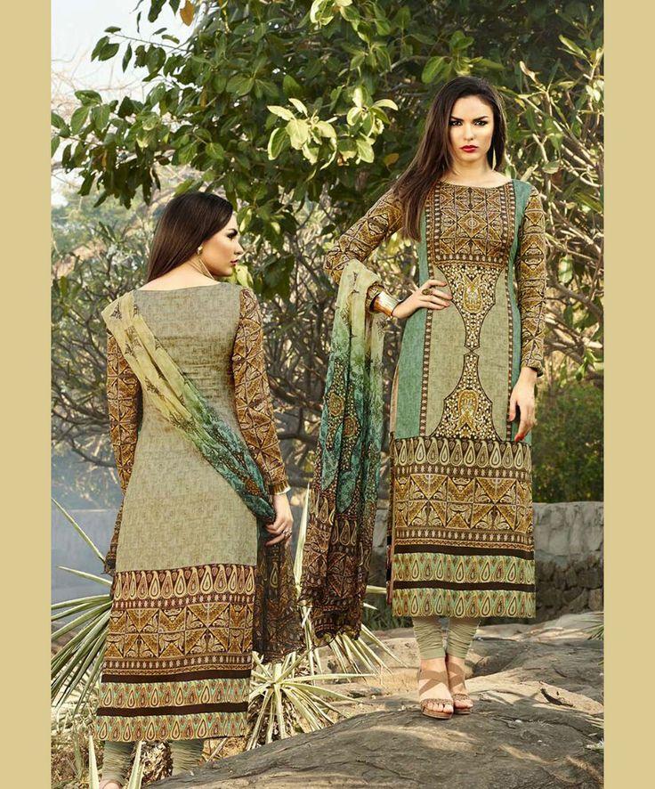 Beige Cotton Satin Churidar Suit 67343
