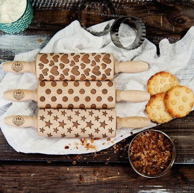 Shapes - Zestaw - 3 MINI wałki do ciasta - RollingWoods - Kuchnia