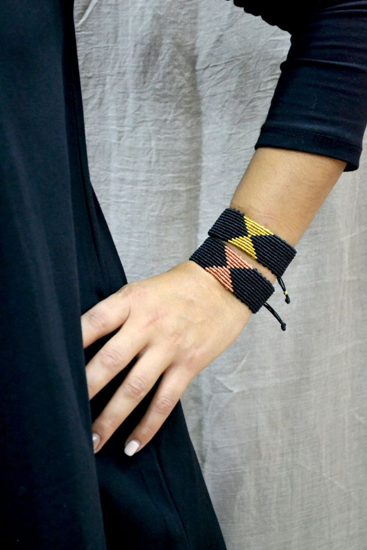 Macrame Cuff Bracelet Micro macrame bracelet Black and