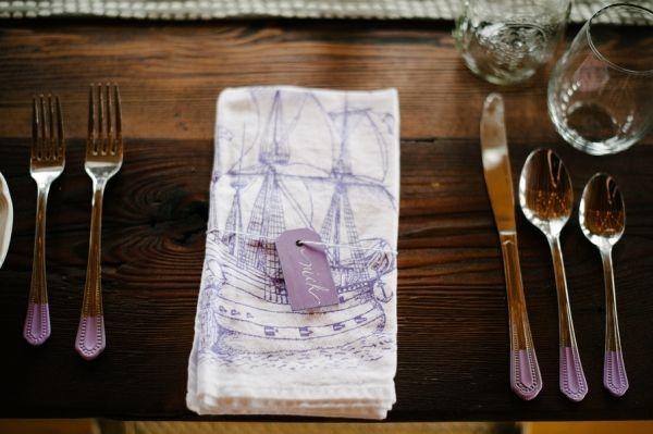 purple name tags + purple paint-dipped flatware // photo by AlexandraRoberts.com