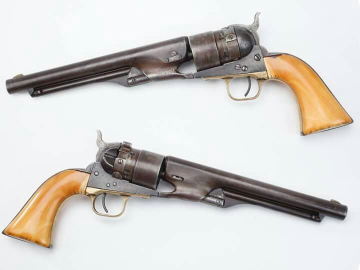 "The Colt Thuer conversion is acknowledged as Colts first metallic cartridge revolver which was produced from 1869 to 1872, long before the single action army model appeared on the horizon. One of the unique features of the Thuer was the ability to easily switch to the percussion cylinder which came in handy if the user ran out of metallic cartridges, yet had percussion caps, black powder and ball ammo. This 1860 Colt ""Army"" also bears a well aged set of ivory grip panels."