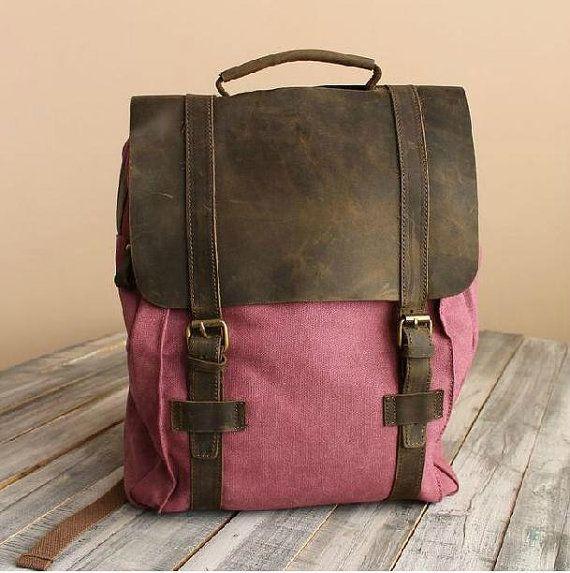 Rose Red Leather-Canvas Backpack / IPAD Bag / Laptop Bag / School Bag / Women's and Men's  Bag / Travel Bag / Unisex Backpack