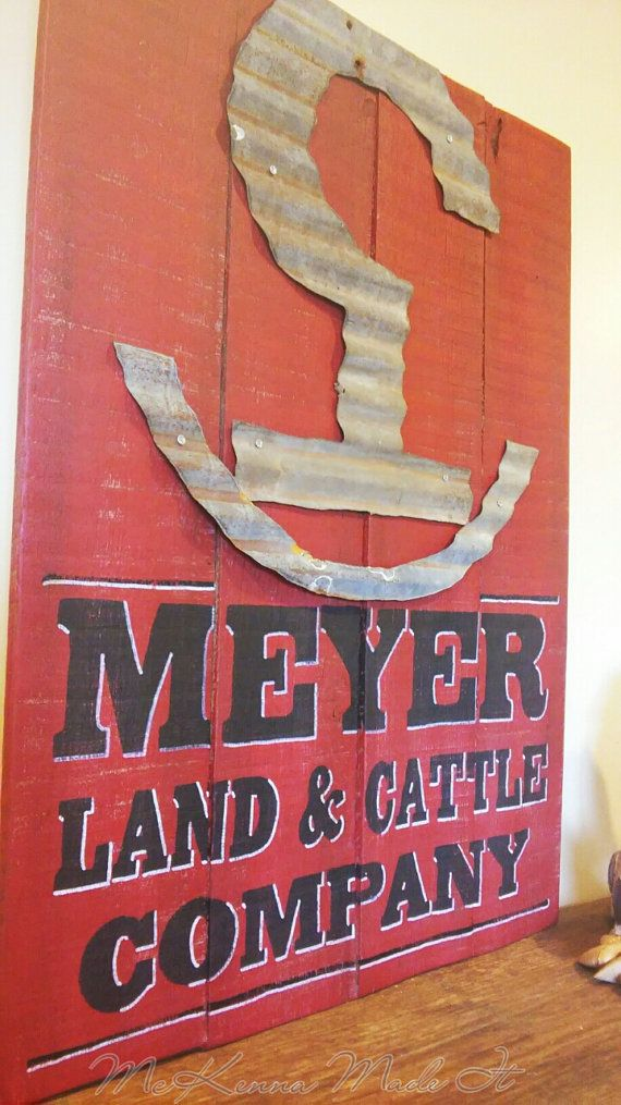 Tin Brand Meyer Cattle Co. Pallet Wood Sign by McKennaMadeIt2013