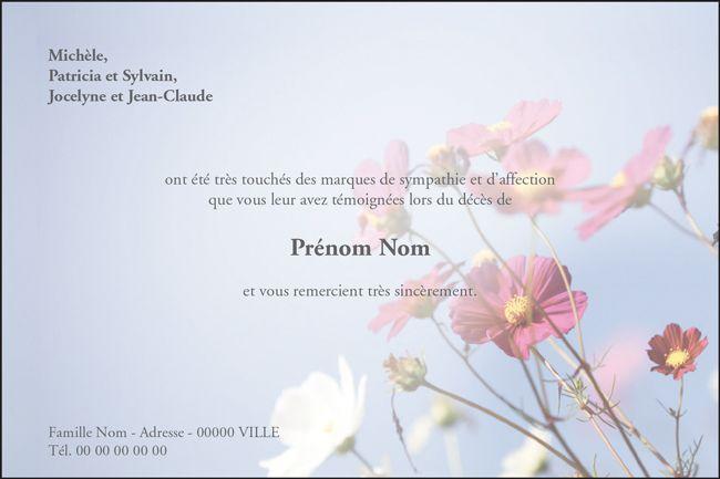 """Carte de remerciement décès """"Fleurs des champs"""" : Un décor de nature paisible et de fleurs des champs pour cette carte de deuil personnalisable entièrement."""