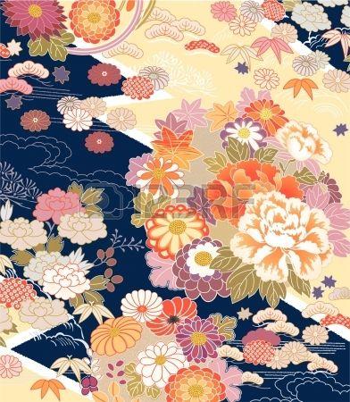Montaggio di motivi Kimono tradizionali Archivio Fotografico