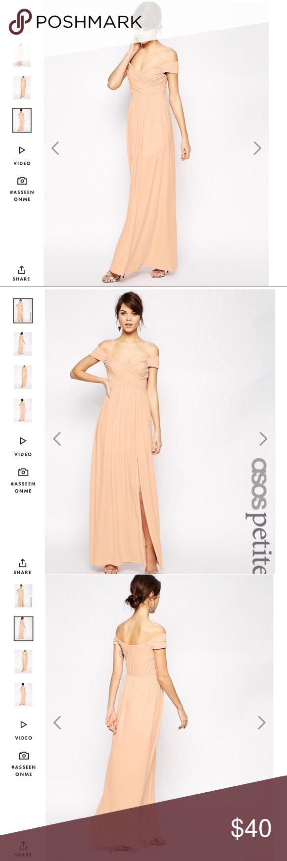 Petite Off the Shoulder Maxi Dress Petite Off the Shoulder Maxi Dress. Color is nude/pale pink. Front slit. Lined. Worn once as a wedding guest. This is also perfect as a bridesmaid or prom dress. ASOS Petite Dresses Wedding