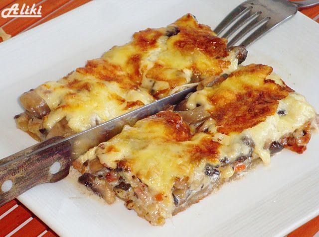 Μανιτάρια  - pečurke   Sastojci   1 list lisnatog testa  oko 600 g. šampinjona  150 g. slaninice  250 g. tvrdog sira  2,5 dcl. slatke p...