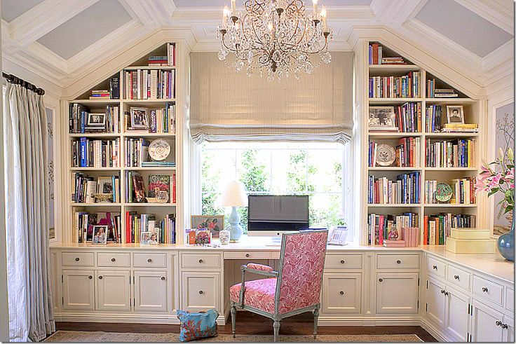 This office is a beautiful space with handpainted wallpaper and a wonderful chandelier.  The pitch of the new roof is repeated in several rooms in the house and in the guest/pool house – creating a continuity in both houses.  Love the pink fabric mixed in with all the pale blues.