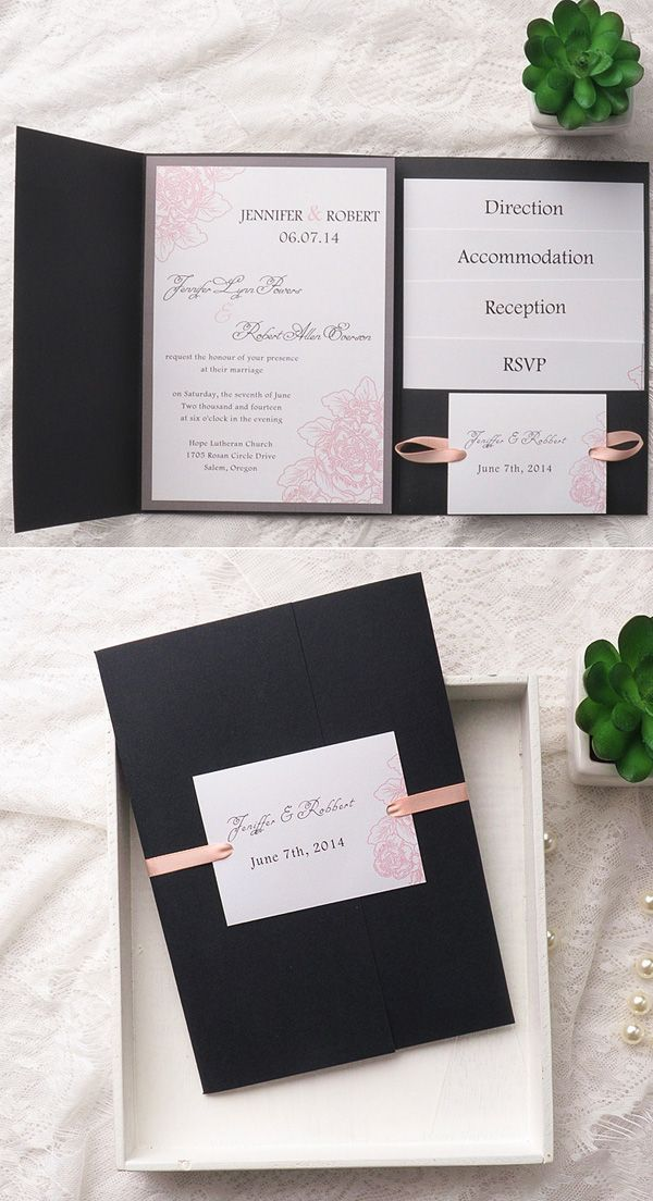 what should an evening wedding invite say%0A blush pink and black pocket wedding invitation set for