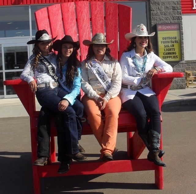 Rodeo Royality Visted POPS during the 2014 Elks Pro Rodeo! Left to Right: Leann Peyre the 2014 Elks Pro Rodeo Queen, Jess Verstappen the 2013 Elks Pro Rodeo Queen, Jessica Cunningham Lavie the 2014 Miss Teepee Creek, and Nicole Briggs the 2014 Miss Rodeo Canada!