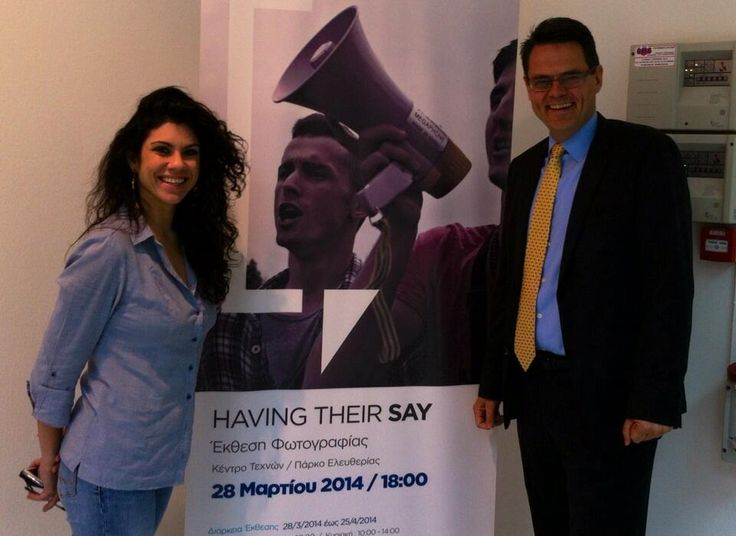 At successful closing of HAVING THEIR SAY photo exhibition in Athens. The Norwegian ambassador to Greece and Cyprus, Mr.Sjur Larsen with curator Maria Sfyraki. EEA and Norway Grants well used! Next stop of the exhibition: Thessaloniki.