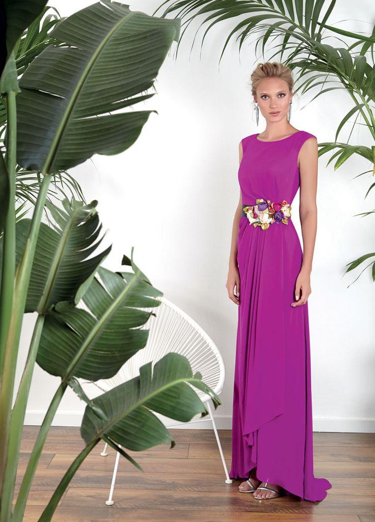 Vestidos de Fiesta Matilde Cano ¡nueva colección 2017! - Vestidos de fiesta, vestidos para boda, Vestido casa chiffon bugambilla con cinturón de flores