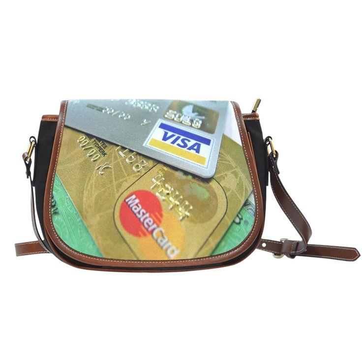 Sac de selle en toile/cuir Cartes de crédit