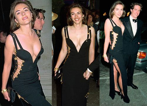 liz hurley w/ Hugh grant | Versace safety pin dress | 1994