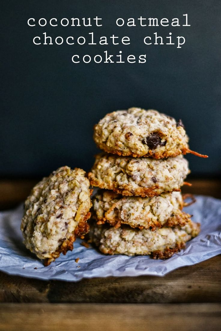 coconut oatmeal chocolate chip cookies | Yummy tummy | Pinterest