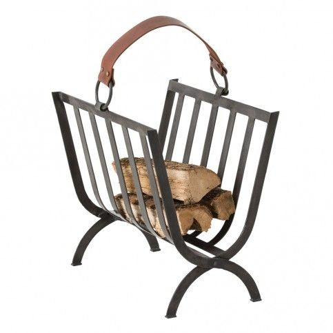 THE WELL APPOINTED HOUSE - Luxury Home Decor- Black Iron Log Holder with Leather Handle www.wellappointedhouse.com #homedecor #interiordesign #fireplace