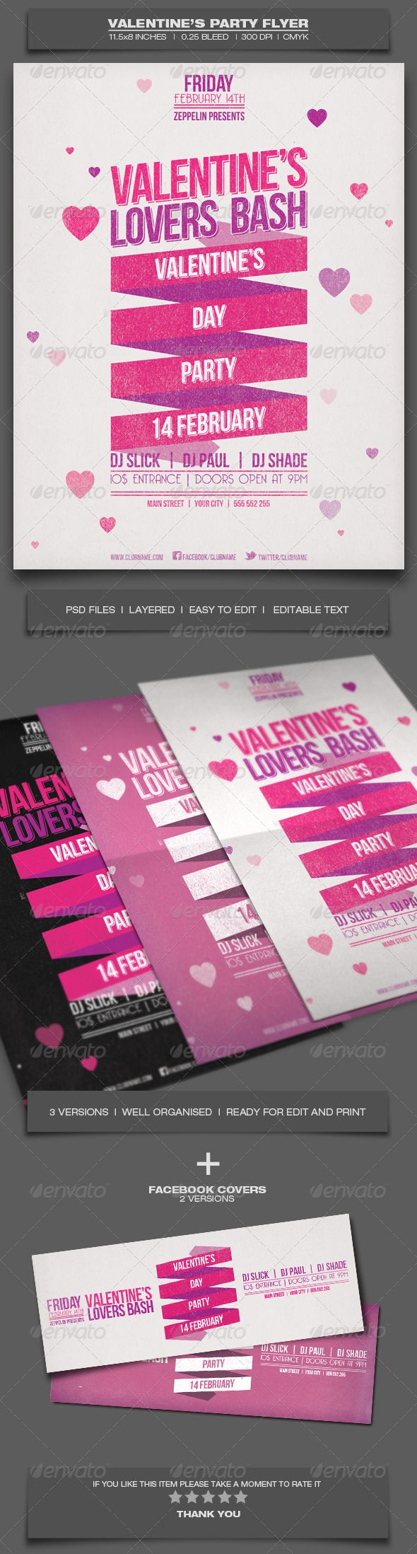 Valentine's Day Party - Event Flyer Template 2 #GraphicRiver
