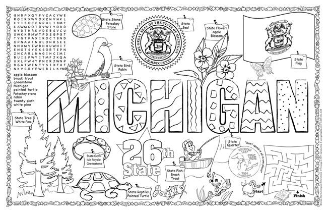 michigan state university coloring pages | Michigan Symbols & Facts FunSheet – Pack of 30