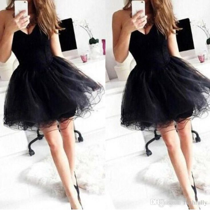 2017 New Short Black Party Dresses Sweetheart A Line Backless Mini Tulle Cocktail Gowns Modest Sexy Prom Pageant Dresses Cheap Custom Made Plus Size Cocktail Dresses Uk Plus Size Formal Cocktail Dresses From Faithfully, $86.43| Dhgate.Com