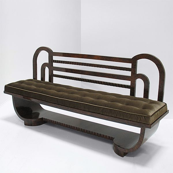 Art Deco Bench, in the manner of Eugene Printz, c1930's. Crafted from Palmwood, with a velvet upholstered feather-down seat.