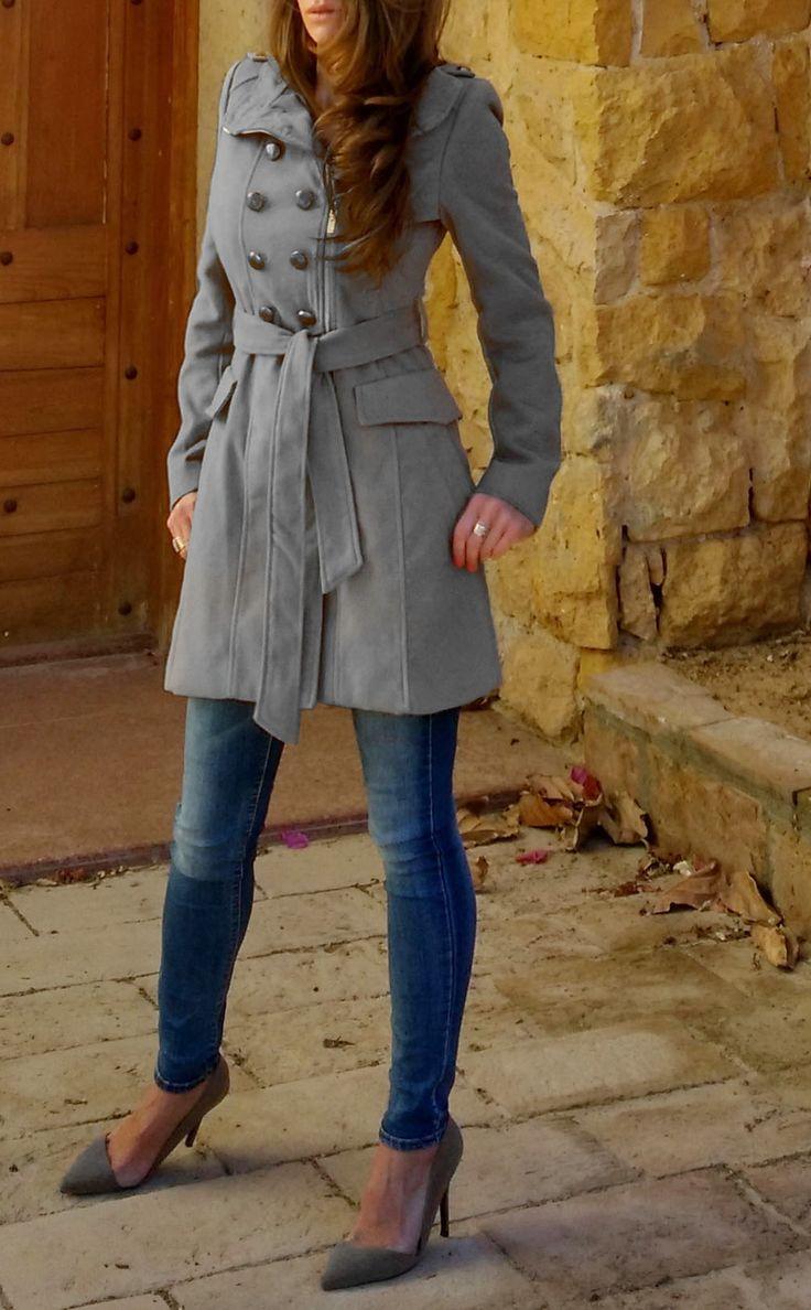 Płaszcz Damski Klasyczny Dwurzędowy Trenacz zapinany na Zamek na Wiosnę i Jesień model #95 w sklepie FASHIONAVENUE.PL