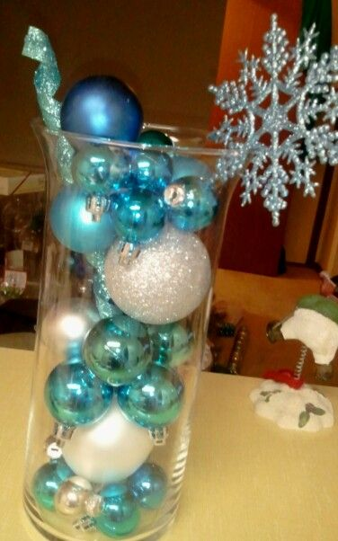 Ornament centerpiece. :  wedding blue christmas non flower centerpieces ornaments reception silver sliver white winter 1293493430 Picsay