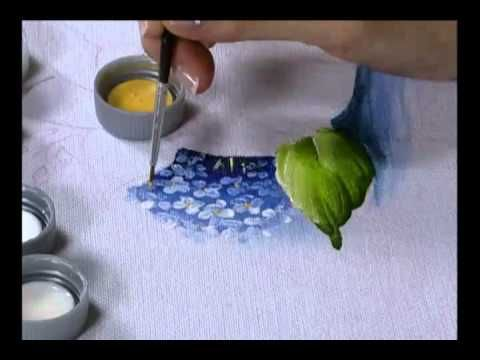 Hortênsia Azul - Pintura em Tecido - How to paint Hydrangeas - YouTube