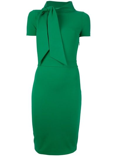 Green wool blend asymmetric dress from Dsquared2 featuring a funnel neck with tie scarf detailing, short sleeves and a side zip.