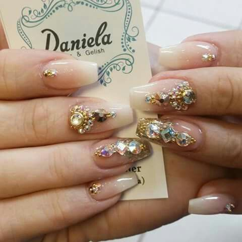 Ombré nude nails with bling