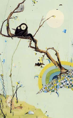 """Laura Owens  """"Untitled"""", 2001, acrylic, oil, marker and felt on canvas  117 x 72 in.: Art Quotes, Art Paintings, Art Photography, A Paintings, Art Beautiful, Contemporary Paintings, Animal, Owens Paintings, Acrylics Oil Mark"""
