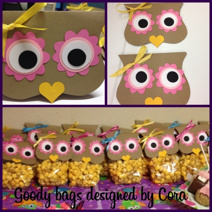 These are the Owl goody bags made with caramel and cheese popcorn.
