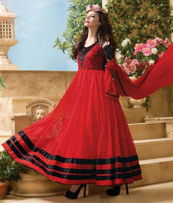 Net & Brasso Machine Work Red & Black Semi Stitched Long Anarkali Suit - 5807