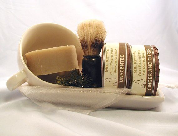 Old Fashioned Shaving Set  Cup Soap and Brush  by MrKittysSoapShop, $20.00