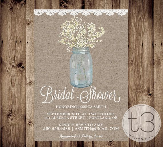 276 best exceptional bridal shower invites images on pinterest country bridal shower invitation bridal shower invitation wedding shower invite rustic babys breath mason jar shabby chic filmwisefo