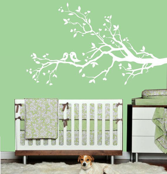 White Tree Branch Wall Decal With Leaves By ModernWallDecal