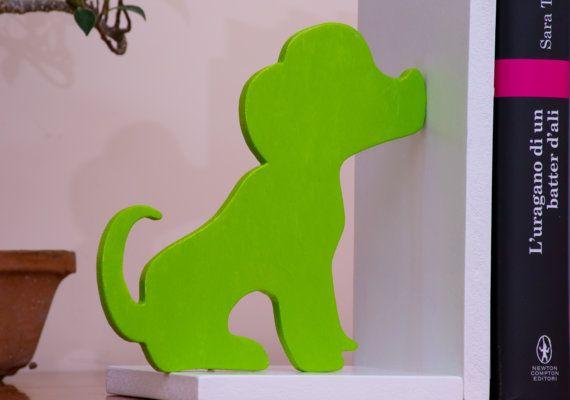 Fermalibri in legno Cane e Gatto Verde di FantasieArtigianali
