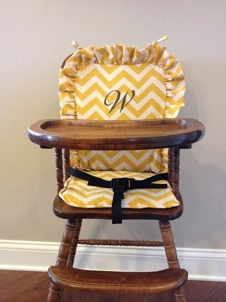 Wooden Highchair Cover  Yellow Chevron back/seat by CraftynStitches, $70.00