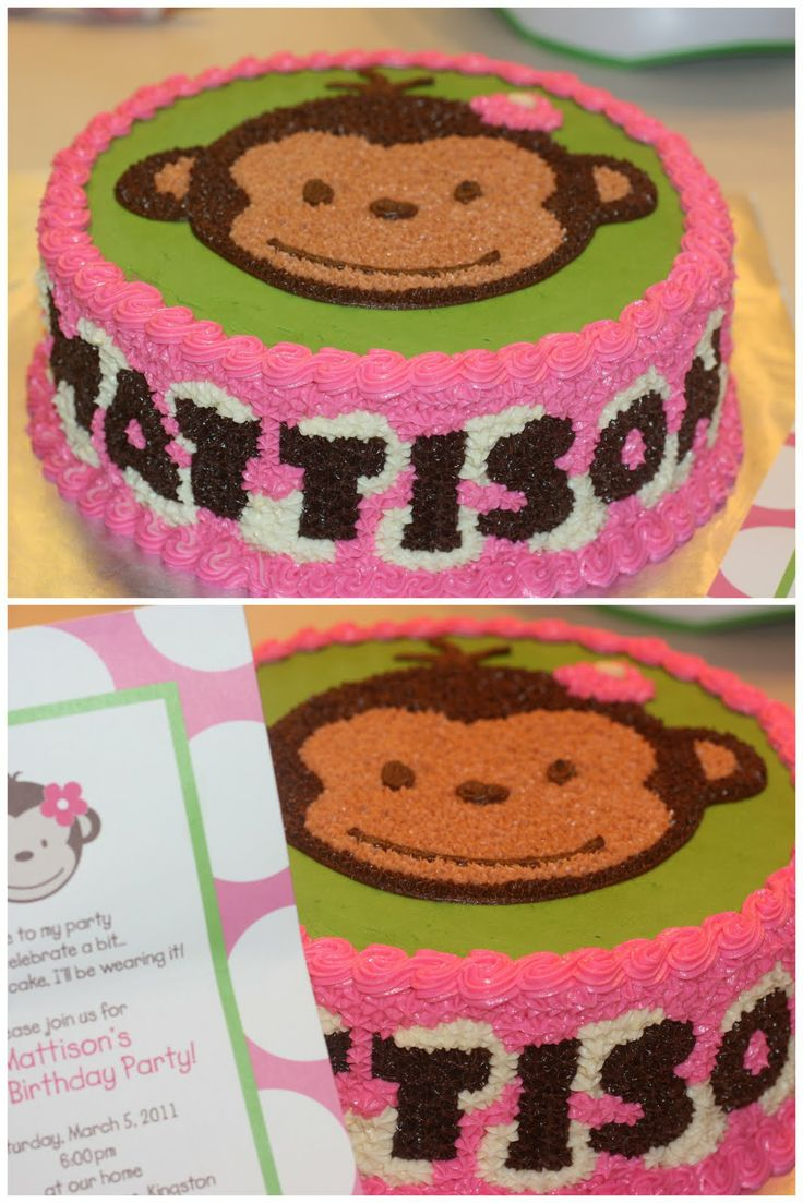 monkey cake for girl's 1st birthday!