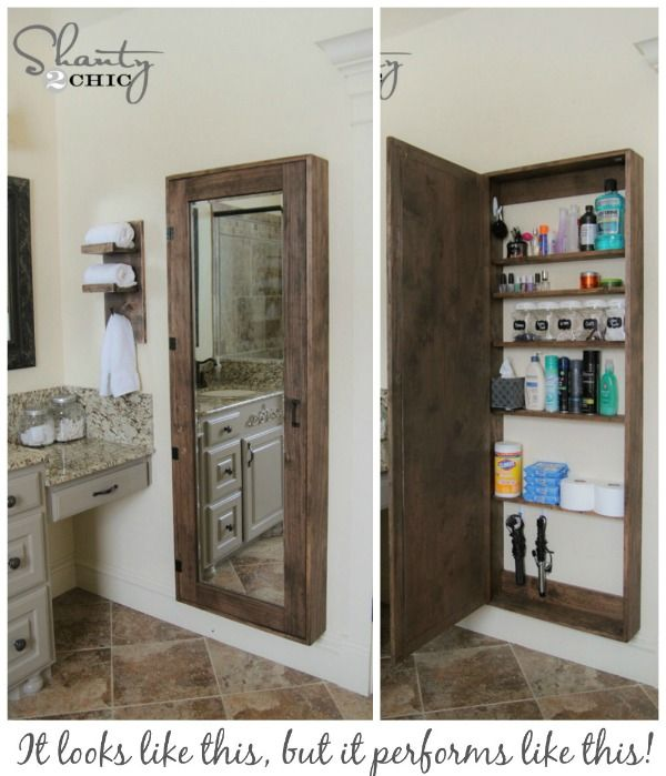 Think 2-in-1 with this mirror and storage cabinet. Bathroom Storage Ideas for Small Spaces; solutions for your everyday family. Bathroom Hacks and Tricks you wish you knew yesterday.