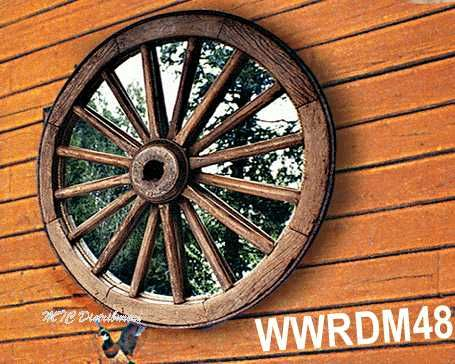 maybe a large mirror made from one of the family heirloom wagon wheels?  Could just attach mirror to rear of wheel with mirror clips.  Would provide added light to room but not be much of a mirror...