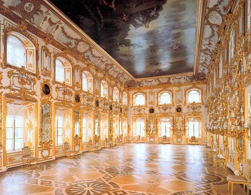 Peterhof Palace, the grand ballroom, Saint Petersburg. Note the magnificent floors inlaid with rare and precious woods in an intricate design. This is a hallmark of the Imperial Russian style.