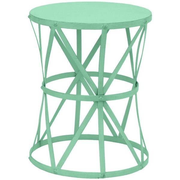 Three Hands Mint Metal Accent Table ($60) ❤ Liked On Polyvore Featuring  Home,