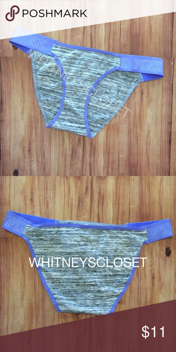 ✨New, Victoria's Secret PINK logo bikini panty Size large, stretch logo hip band bikini panty in periwinkle and heather gray. 🚫NO trades🚫NO price discussion in comments PINK Victoria's Secret Intimates & Sleepwear Panties