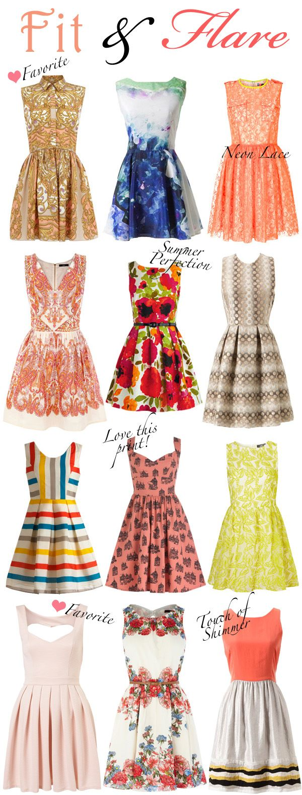 Adorable fit and flare dresses, perfect inspiration while shopping for your spring wardrobe! :: Vintage Fashion :: Retro Clothing:: Retro dresses:: Spring Style