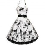 Vintage Doll Collar Splicing Floral Embroidery Dress With A Bow Tie For Women (WHITE,S), Vintage Dresses